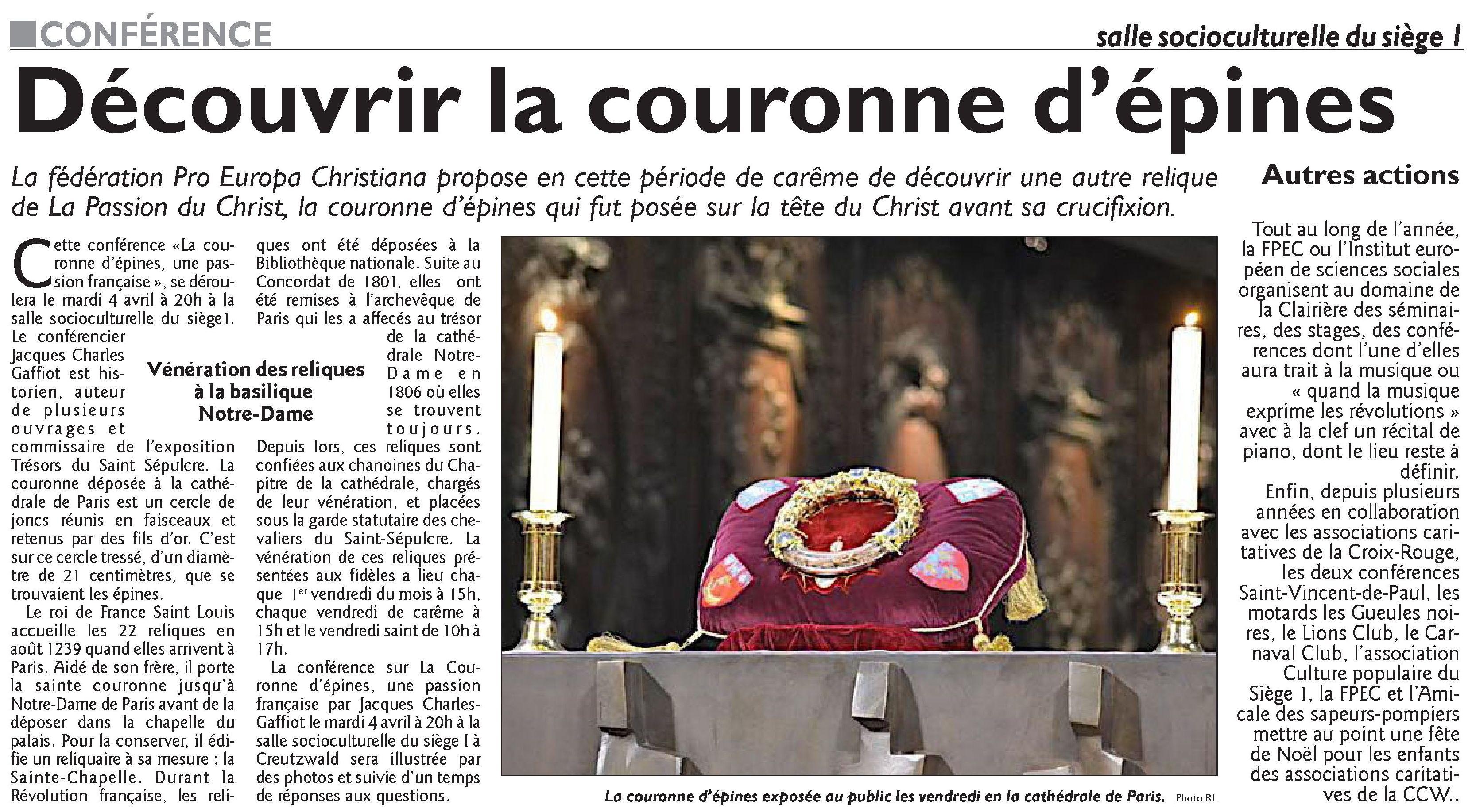 Le Républicain Lorrain, 2 Avril 2017